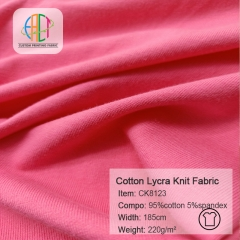 CK8123 95% Cotton 5%Spandex Knit Fabric 220gsm,MOQ=25KG