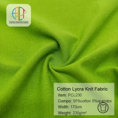 PCL230 95/5 Cotton Lycra Knit Plain Fabric Stock,230gsm,170cm,MOQ=25KG