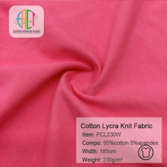 PCL230W Biopolished Cotton Lycra Knit Plain Fabric,230gsm,185cm,MOQ=25KG